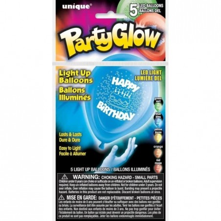 LED valgusega õhupallid - Happy Birthday