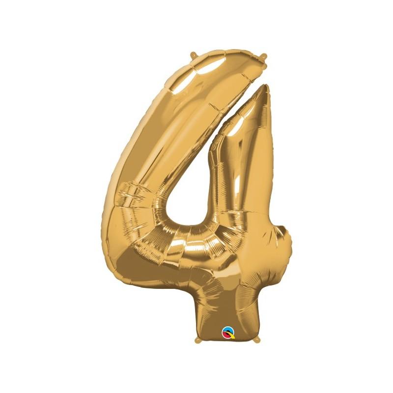 """Foolium Õhupall Number 4 - 34""""/86cm Kuldne"""