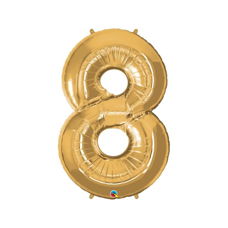 """Foolium Õhupall Number 8 - 34""""/86cm Kuldne"""