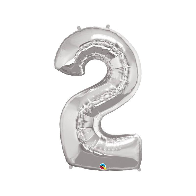 """Foolium Õhupall Number 2 - 34""""/86cm Hõbedane"""