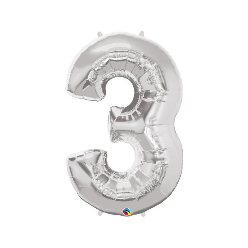 """Foolium Õhupall Number 3 - 34""""/86cm Hõbedane"""