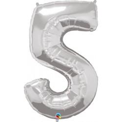 """Foolium Õhupall Number 5 - 34""""/86cm Hõbedane"""