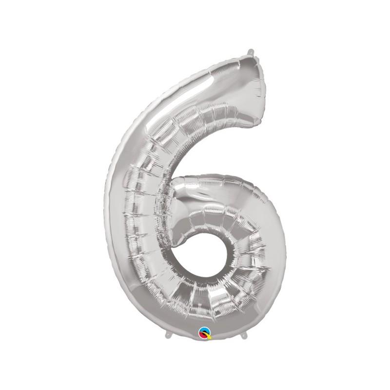 """Foolium Õhupall Number 6 - 34""""/86cm Hõbedane"""