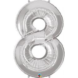 """Foolium Õhupall Number 8 - 34""""/86cm Hõbedane"""
