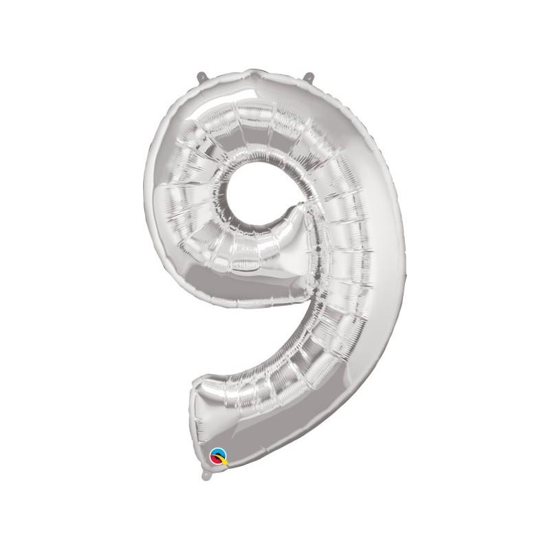 """Foolium Õhupall Number 9 - 34""""/86cm Hõbedane"""